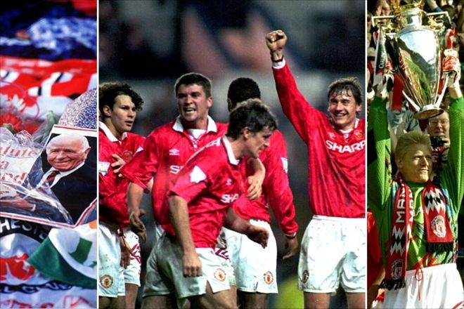 Manchester United win the title in 1994 1993-1994: The ninth title. The team that won the 9th title is arguably one of United's strongest sides, made up of Schmeichel, Parker, Bruce, Pallister, Irwin; Kanchelskis, Ince, Keane, Giggs; Hughes and Cantona. They got the club's first League and FA Cup double.  Cr. <warp>www.bbc.co.uk/newsround/22264796</warp>