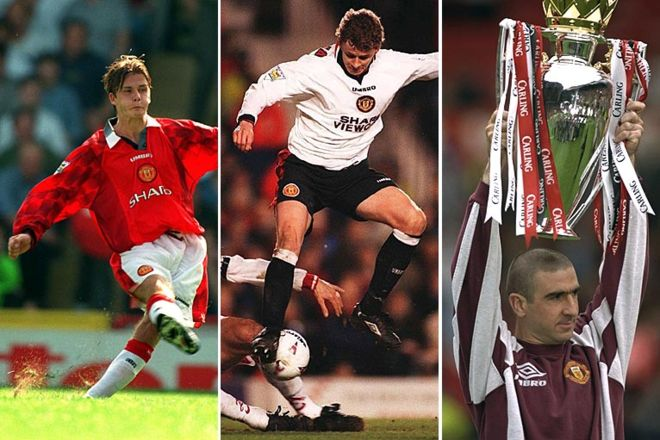 David Beckham, Ole Gunnar Solskjaer, and Eric Cantona 1996-1997: The 11th title. David Beckham makes his mark at the club, scoring from 60 yards, but it's £1.2m Norwegian striker Ole Gunnar Solskjaer who proves crucial in winning the title. Inspirational player Eric Cantona ended his time with Manchester United retiring at the end of this season.  Cr. <warp>www.bbc.co.uk/newsround/22264796</warp>