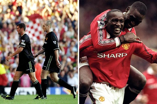 Roy Keane and Jaap Stam; Dwight Yorke and Andrew Cole 1998-1999: The 12th title. This was the most successful season in United's history to this date, as the side won three major competitions - the Premier League, the FA Cup and the European Champions League.  Cr. <warp>www.bbc.co.uk/newsround/22264796</warp>