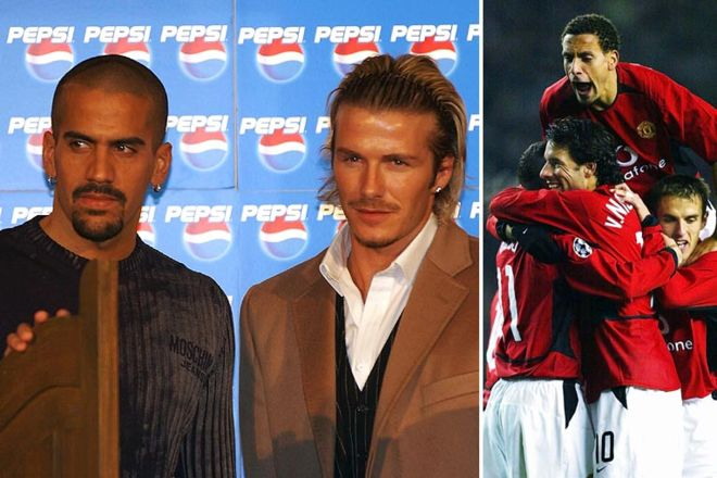 Juan Sebastian Veron and David Beckham; Rio Ferdiand and Ruud Van Nistelrooy 2002-2003: The 15th title. Beckham links up with £28m signing Juan Sebastian Veron before ending his 11-year period at the club and moving to Real Madrid. Dutch striker Ruud van Nistelrooy is the toast of his team-mates with yet another avalanche of goals.  Cr. <warp>www.bbc.co.uk/newsround/22264796</warp>