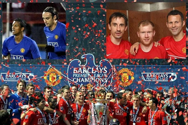 Manchester United win the league in 2009 2008-2009: The 18th title. Fresh attacking talent such as Nani and Dimitar Berbatov shine, while old faces - Gary Neville, Paul Scholes and Ryan Giggs - remain inspirational as United win three league titles in a row. Is there any stopping this team?  Cr. <warp>www.bbc.co.uk/newsround/22264796</warp>