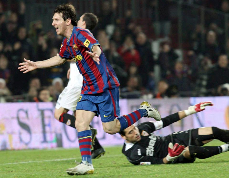 Lionel Messi scored his 100th goal for Barcelona against Sevilla in 2010