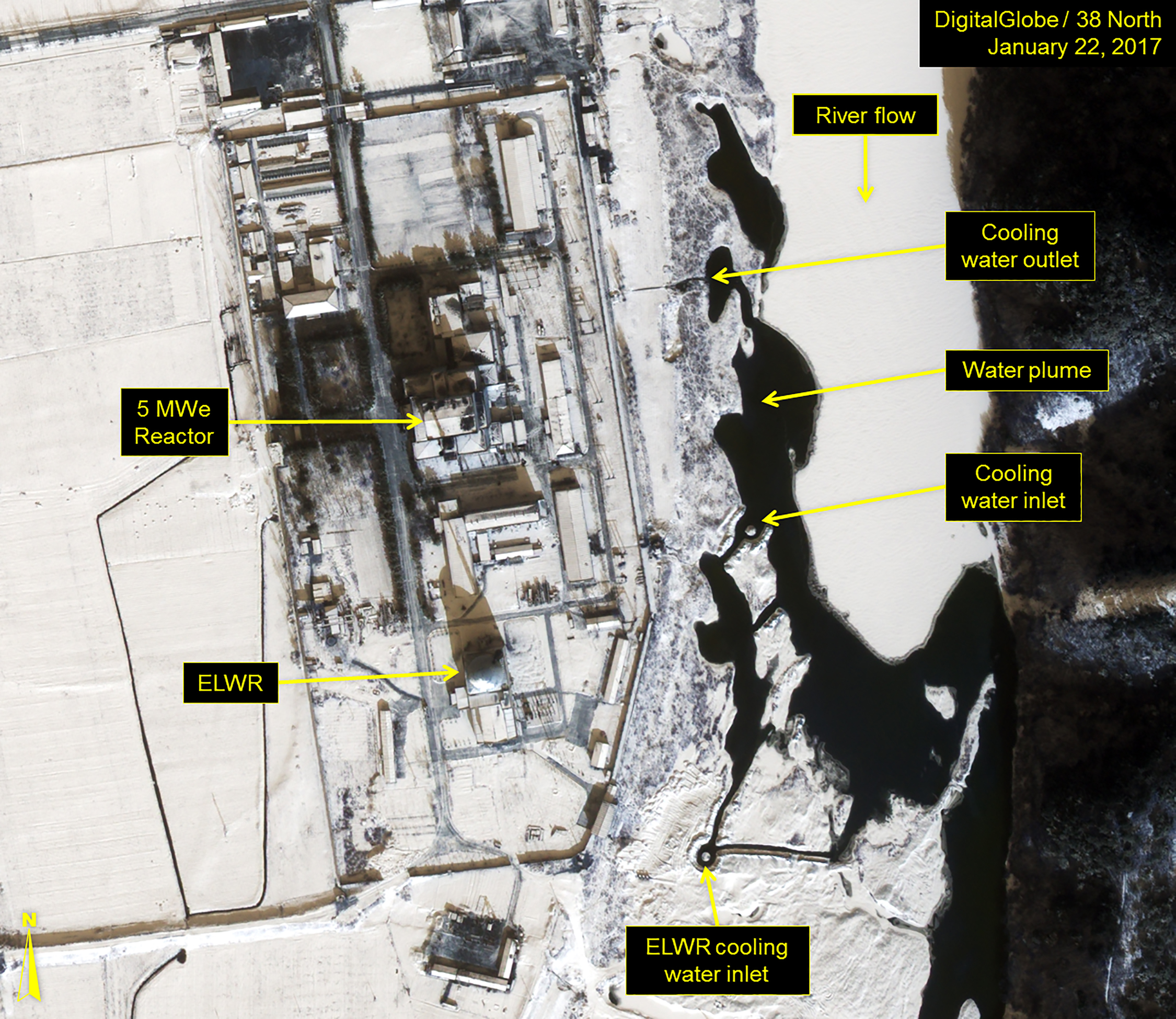 An analysis of new satellite imagery from 38 North, a North Korea tracking project associated with the School of Advanced International Studies at Johns Hopkins University, concludes that country is preparing to restart the reactor at the Yongbyon nuclear facility. The images show that most of a river near the reactor is frozen over, except for where water originating from a reactor outlet mixes with the river -- indicating that the reactor is likely operational.