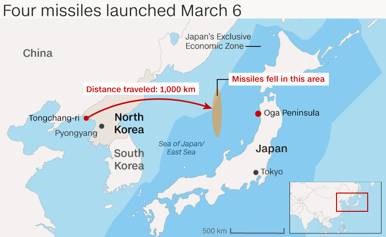 Four missiles launched March 6