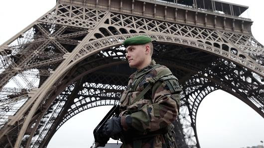 A soldier on guard at the Eiffel Tower in Paris on January 7, 2015. Cr. Joel Saget, AFP, Getty Images